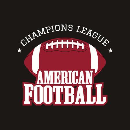 American football champions league badge, , label, insignia in retro color style. Illustration
