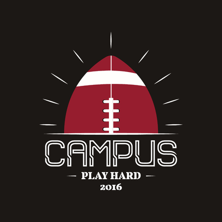 symbol sport: American-Football-Campus, Emblem, Etikett, Insignien im Retro-Farben-Stil. Illustration