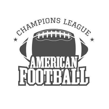 football play: American football champions league badge, , label, insignia in retro color style.