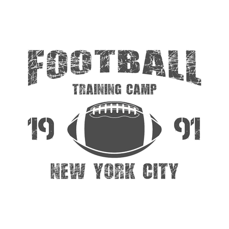 football ball: American football New York training camp badge, , label, insignia in retro color style.  Illustration