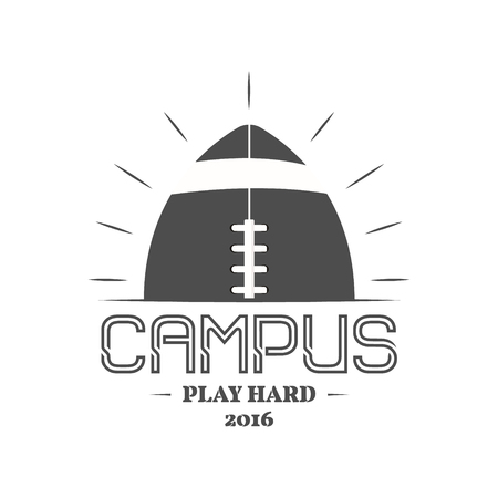 campus: American football campus , emblem, label, insignia in retro color style.