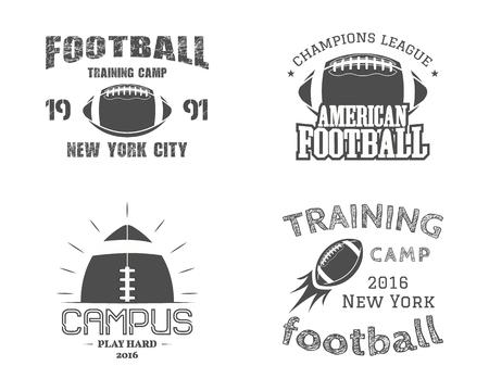 pelota rugby: Conjunto de insignias del equipo de fútbol americano del campus,, etiquetas, insignias de estilo retro monocromo.