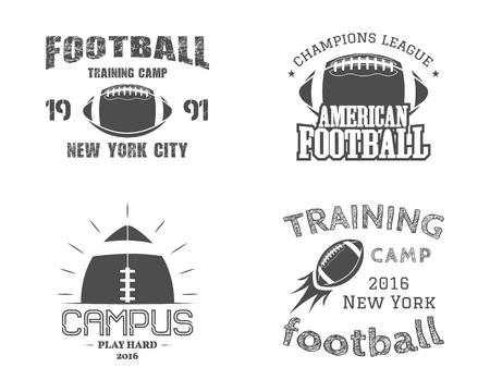 american football: Set of american football team campus badges, , labels, insignias in retro monochrome style.