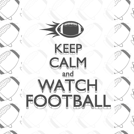 AmeriAmerican football keep calm quote background with rocket ball and text. Retro monochrome style and frame. Graphic vintage typographic design for print t-shirt, web. Vector illustration Stock Illustratie