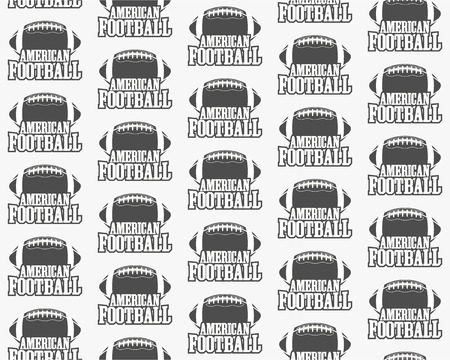 Vector american football seamless pattern. Sports retro monochrome style. Graphic vintage typographic design for print t-shirt, web.  Illustration. Illustration