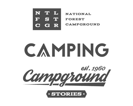 campground: Set of retro camping badges and label  graphics. Campground, mountain emblems and travel insignia.  Illustration