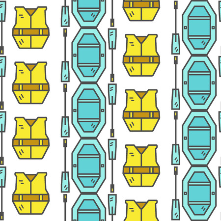life jacket: Rafting equipment seamless pattern. Outdoors style, thin line color design. Stylish elements for web, mobile applications, banners, flyers, posters, brochures. Boat, life jacket. Vector illustration
