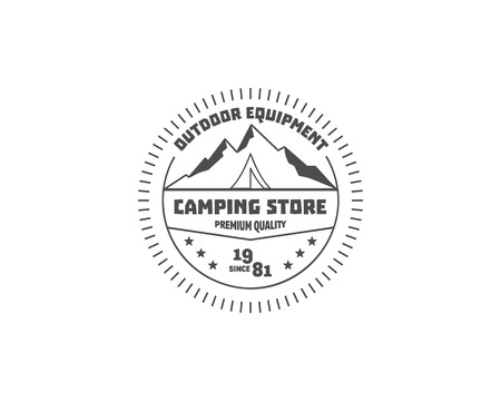 campground: Vintage camping store badge, outdoor logo, emblem and label concept for web, print. Retro stylish monochrome design. Tent and text. Easy to change color. Vector illustration
