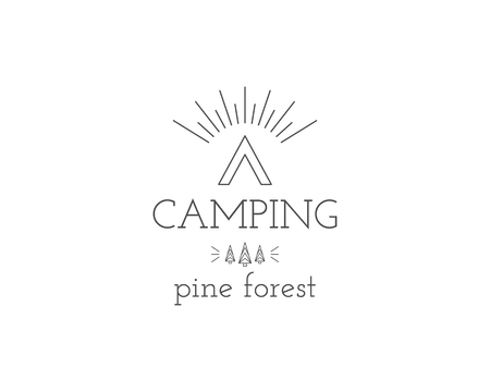 pine forest: Vintage mountain expedition camping badge, outdoor logo, emblem and label concept for web, print. Pine forest. Retro stylish monochrome design. Easy to change color. Vector illustration Illustration