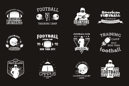 college campus: College rugby and american football team campus, college badges, logos labels insignias in retro style Graphic vintage design for t-shirt, web. Monochrome print isolated on a black background. Vector. Illustration
