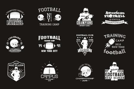 pelota rugby: rugby de la universidad y el campus americano equipo de fútbol, ??insignias de la universidad, logotipos etiquetas de insignias de estilo retro diseño gráfico del vintage para la camiseta, web. impresión monocroma aislado en un fondo negro. Vector. Vectores