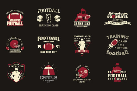 College rugby and american football team, campus, college badges, logos labels insignias in retro style Graphic vintage design for t-shirt, web. Color print isolated on a dark background. Vector. Ilustrace