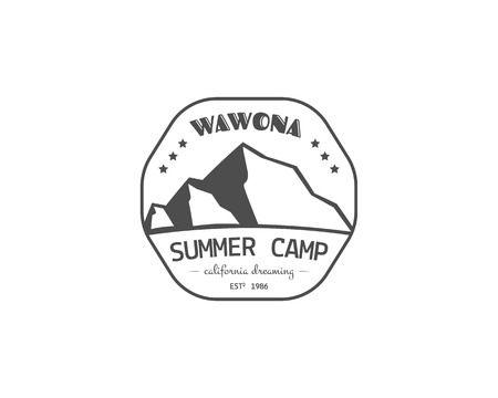 family hiking: Vintage summer or winter camping badge, outdoor , emblem and label concept for web, print. Retro stylish monochrome design. Mountain concept and text. Easy to change color. Vector illustration