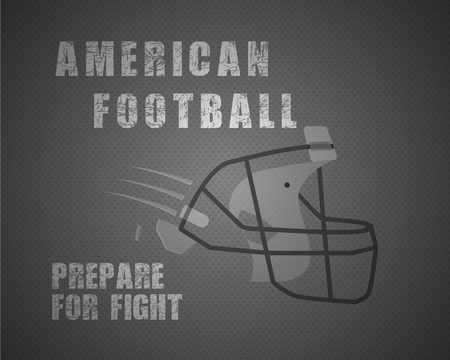 prepare: Modern unique american football poster with motivation quote - prepare for fight - on dotted like ball stylish background with helmet. Unusual design for your projects. Vector illustration