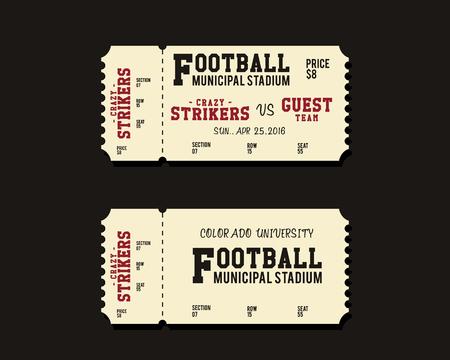 biglietto: Football americano, rugby o il disegno Card Ticket Calcio Retro. Università partita di campionato. design elegante Vintage. illustrazione di vettore Vettoriali
