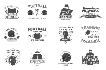 College rugby and american football team, campus, college badges logos labels insignias in retro style. Graphic vintage design for t-shirt, web Monochrome print isolated on a white background. Vector. Vectores