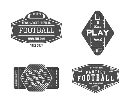 American football field geometric team or league badge, sport site logo, label, insignia set. Graphic vintage design for t-shirt, web. Monochrome print isolated on a white background. Vector.