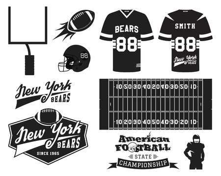 Football: American football uniform, t-shirt design with team logo, label, badge, field, helmet, ball, goal. Can be use in infographics, presentations, as icon etc. Monochrome Flat design. Vector illustration
