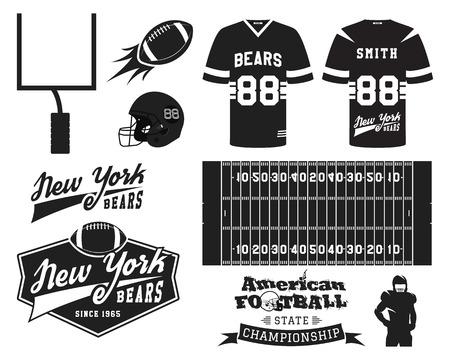 uniforme de futbol: Uniforme de fútbol americano, diseño de la camiseta con el logo del equipo, etiqueta, placa, campo, casco, bola, meta. Se puede utilizar en la infografía, presentaciones, como icono etc. Monocromo Diseño plano. Ilustración vectorial