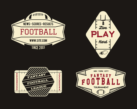 american vintage: American football field geometric team or league badge, sport site logo, label, insignia set. Graphic vintage design for t-shirt, web. Colorful print isolated on a dark background. Vector.
