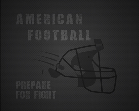 prepare: Modern unique american football poster with motivation quote - prepare for fight - on dotted like ball monochrome background with helmet. Unusual design for your projects. Vector illustration Illustration