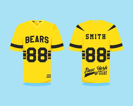 uniforme de futbol: American football uniform, t-shirt design with team logo, label, badge. Can be use in infographics, presentations, as icon etc. Color Flat design. Vector illustration Vectores