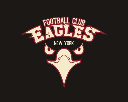 Eagle sport tee graphic. Stylish design for american, european football team, tournament logo, badge or label. Vintage color scheme. Vector illustration Vettoriali
