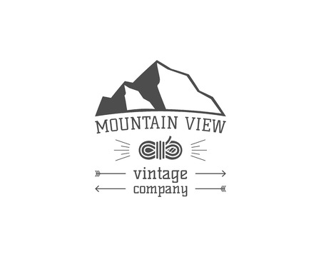 campground: Vintage mountain climbing hiking view camping badge, outdoor  , emblem and label concept for web, print. Retro stylish monochrome design. Easy to change color. Vector illustration Illustration