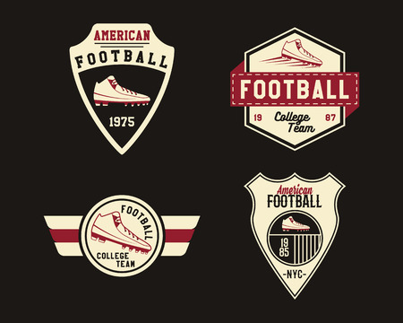 football cleats: American football badge with cleats, sport logo, label, insignia set in retro color style. Graphic vintage design for t-shirt, web. Colorful print isolated on a dark background. Vector illustration