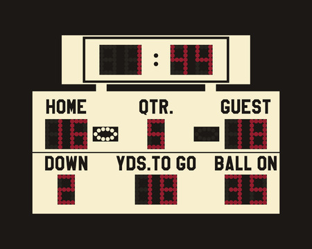 LED american football scoreboard with fully editable data, timer and space for user info. Usa sports board for web, app or print. Flat stylish design. Vector illustration