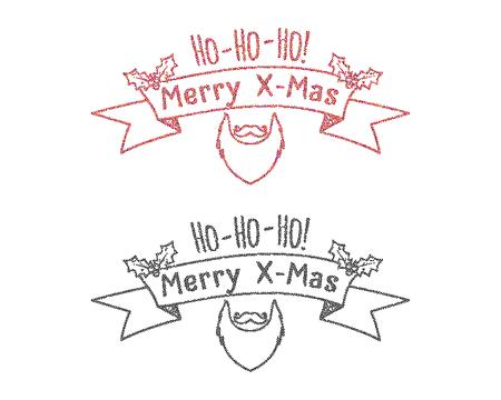 ho: Dot work styled hipster christmas label, badge, logo set. Monochrome and color. Unusual new year winter concept with santa beard, ho ho ho sign. Vector illustration. Illustration