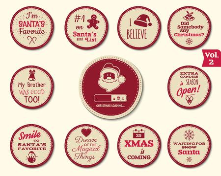 insignia: Insignia de Navidad y elementos de diseño con las muestras divertidas, citas para los niños. etiquetas de Año Nuevo, vacaciones en Santa elementos de la colección 2 aislados sobre fondo blanco. ilustración vectorial