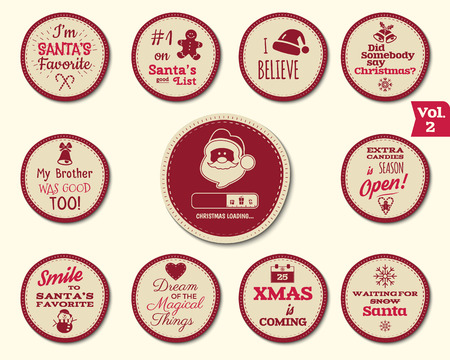 Christmas Badge and Design Elements with funny signs, quotes for kids. New Year labels, Holiday santa elements collection 2 isolated on white background. Vector illustration Illustration