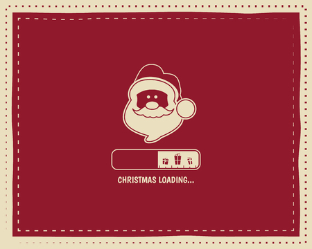 white backgrounds: Christmas loading round vintage card design with santa and bar. Nice retro palette. Red color. Can be use for flyer, banner, poster, new year background. Vector illustration Illustration