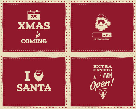 coming: Set of Christmas funny signs, quotes backgrounds designs for kids - loading bar, love santa, xmas is coming. Nice retro palette. Red color. Can be use for flyer, banner, poster. Vector