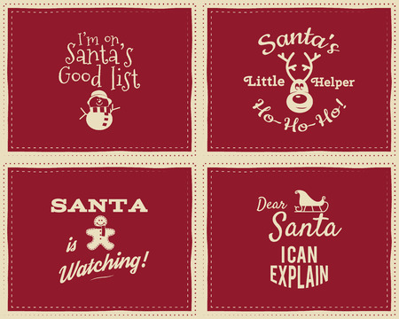 i kids: Set of unique Christmas funny signs, quotes backgrounds designs for kids - Santa i can explain. Nice retro palette. Red and white colors. Can be use as flyer, banner, poster, background, card. Vector