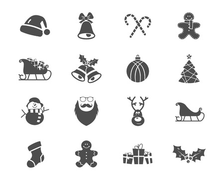 red label: Christmas, Happy New Year and Winter icons collection. Set of holidays symbols, elements - santa, deer, gift, snowman, candy, toys for web, app, ptint.  Vector monochrome silhouette illustration