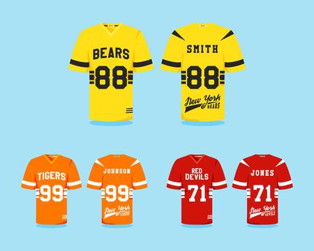 uniforme de futbol: colecci�n uniforme de f�tbol americano, dise�o de la camiseta con logotipos de los equipos, etiquetas, escudos. Puede ser el uso de la infograf�a, presentaciones, etc. como icono colores lindos, Dise�o plano. ilustraci�n vectorial