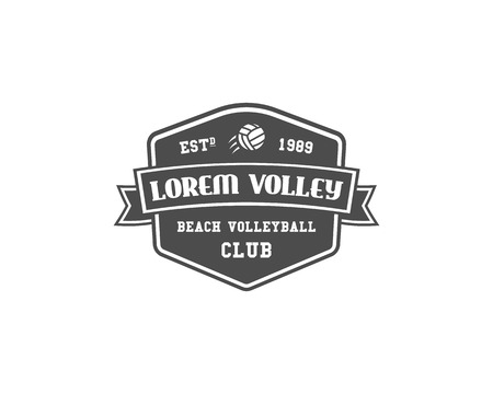 Volleyball label, badge, logo and icon. Sports insignia. Best for volley club, sport shops, sites or magazines. Use it as print on tshirt. Monochrome design. Vector illustration