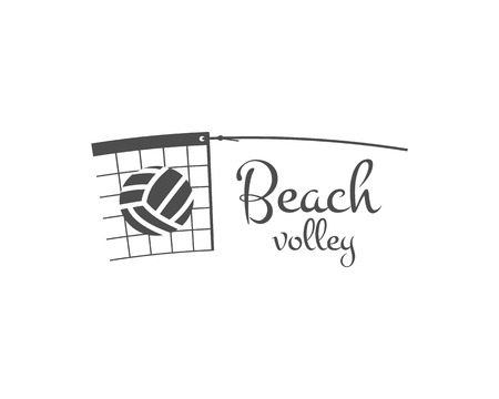 Beach Volleyball label, badge, logo and icon. Sports insignia. Best for volley club, league competition, sport shops, sites or magazines. Use it as print on tshirt. Monochrome. Vector illustration