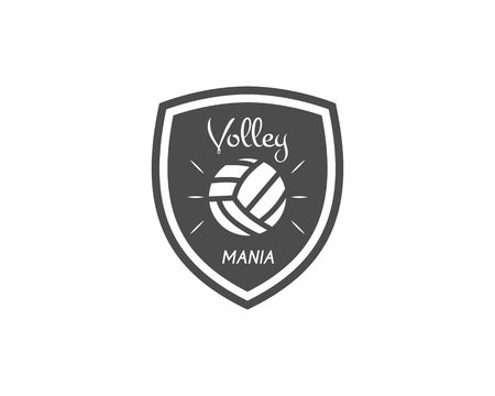 mania: Volleyball label, badge, logo and icon. Sports insignia. Best for volley club, league competition, sport shops, sites or magazines. Use it as print on tshirt. Volley mania. Vector illustration