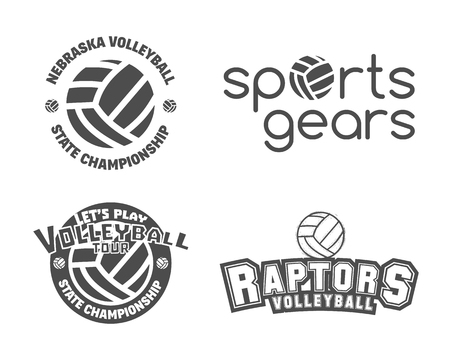 volleyball: Volleyball labels, badges, logo and icons set. Sports insignias. Best for volley club, league competition, sport shops, sites or magazines. Use it as print on tshirt. Vector illustration Illustration