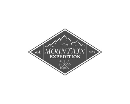 campground: Vintage mountain expedition, climbing hiking camping badge, outdoor logo, emblem and label concept for web, print with sun. Retro stylish monochrome design. Easy to change color. Vector illustration Illustration