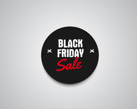 holiday shopping: Black Friday sale black tag, round banner, advertising button, label, badge design with shadow. Holiday shopping element. Vector illustration Illustration