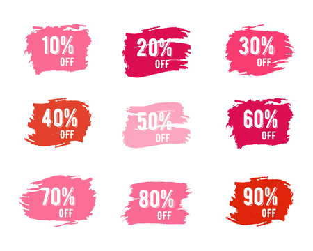 Percentuali di vendita di Natale, Capodanno, Venerdì nero, cyber lunedì o inverno autunno tag prezzo scontato. Vector rosa acquerello tavolozza pennello, spruzzi. Design unico per il web, app o stampare Archivio Fotografico - 48015918