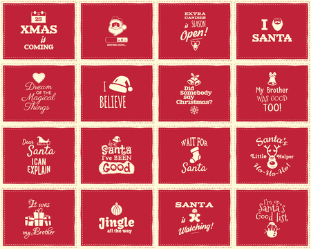 Christmas funny signs, quotes backgrounds designs for kids - loading bar, love santa, xmas is coming. Nice retro christmas palette. Red color. Can be use as holiday flyer, banner, xmas poster. Vector Çizim