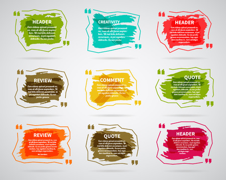 Watercolor, ink, splash Quote blank templates. Quote bubbles. Empty template. Circle business card template, paper sheet, information, text. Print multicolor design. Quote form. Template vector set. Stock Photo