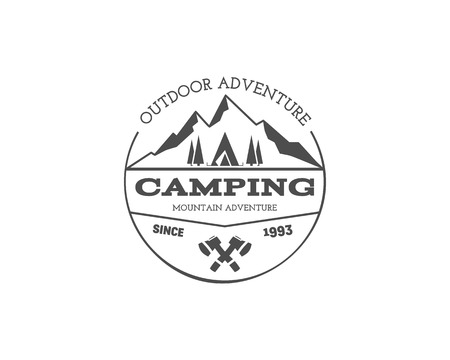campground: Vintage mountain trekking, climbing hiking camping badge, outdoor logo, emblem, stamp and label concept for web, print. Retro stylish monochrome design. Easy to change color. Vector illustration