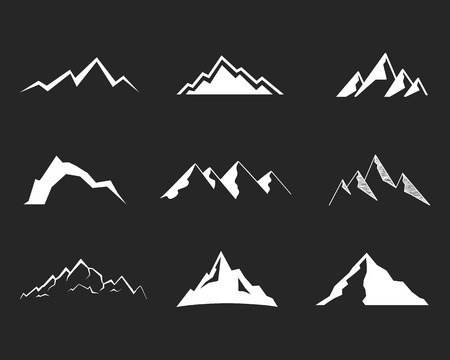 ice climbing: Set of mountain silhouette elements. Outdoor icon. Hand drawn snow ice mountain tops, decorative symbols isolated. Use them for camping logo, travel labels, climbing or hiking badges. Vector. Illustration