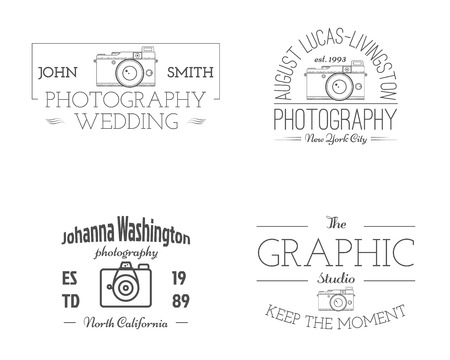 Vintage Photography studio Badges, Labels. Monochrome design with old cameras and elements. Retro style for photo studio, photographer, equipment store. Signs, logos. Photographer studio. Vector. Illustration